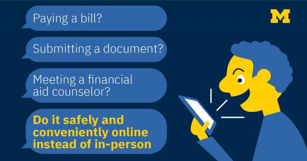 infographic about paying bills, submitting documents, and meeting financial aid counselors safely online instead of in-person