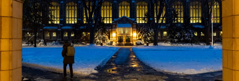The Law Quad in winter at night