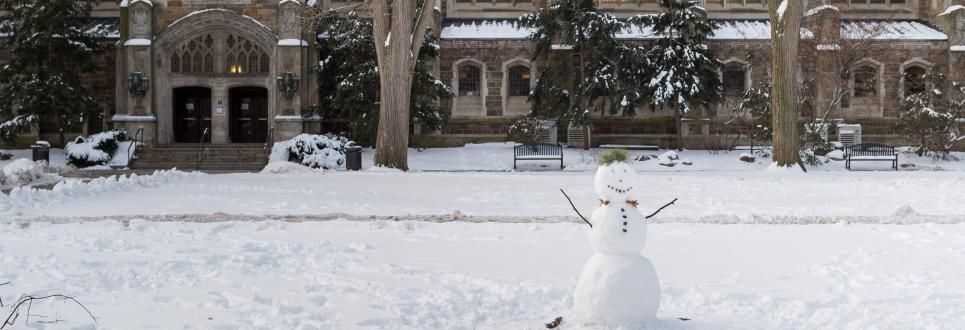 The Law Quad in winter with a snowman